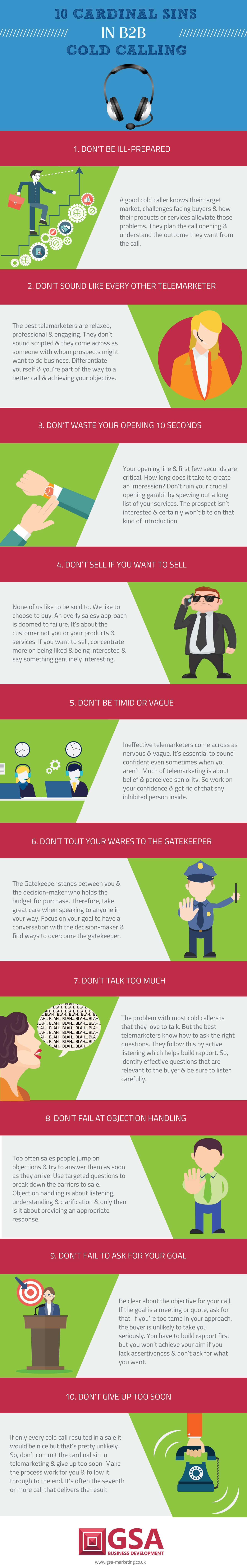10 Cold Calling Cardinal Sins Infographic