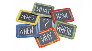 questions written on blackboards